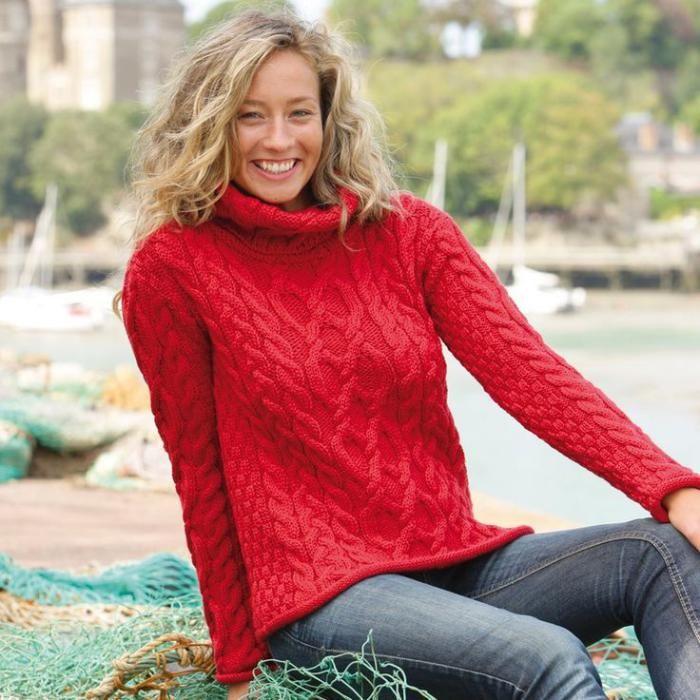 pull irlandais, pull d'aran en rouge, mode d'hiver