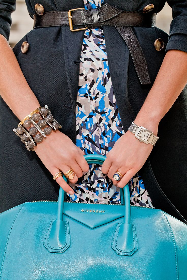 I am obsessed with this Givenchy turquoise tote—as every Vogue girl knows, one MUST have color in their wardrobe. It's the perfect size and allows me to lug all of my Met binders and files back and forth from the office. The cuff is Made Her Think—an oldie but goodie—and this girl can't get enough skull jewelry.  And my tank watch and engagement ring are extensions of my body, really. I feel naked without them!