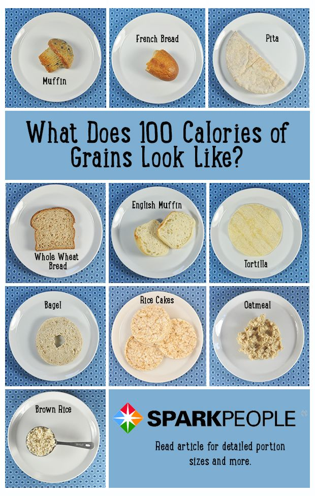 Picture-perfect: What 100 calories of carbs/grains looks like. Nice visual for estimating your portions! (Plate is 8.5 inches). Click for more 100-calorie food pics! | via @SparkPeople #diet #nutrition #weight