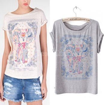 Women's Summer Print Round Collar Short Sleeve T-Shirt