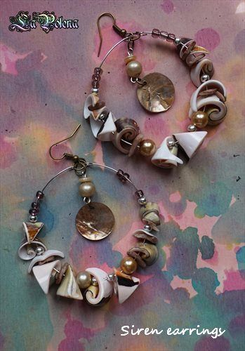 https://flic.kr/p/Sy7wG3 | SIREN dangle Hoops | vintage sea shell beads and charms.