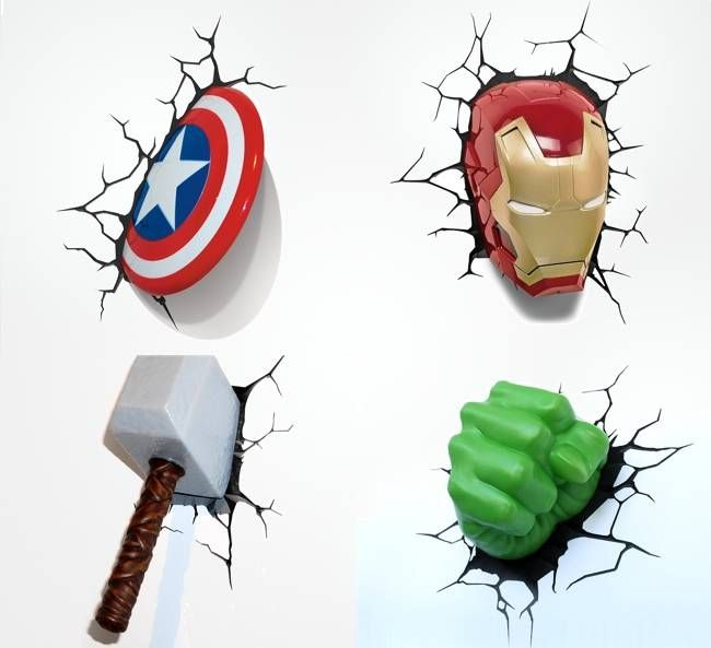 Smash These Superhero 3D Nightlights Into Your Wall, $29.99