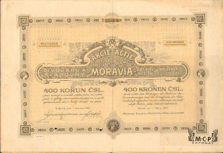 Muzeum cennych papiru A2203 Akciová společnost MORAVIA pivovar a sladovna / MORAVIA Brauerei und Malzfabriks Actien Gesellschaft 1921