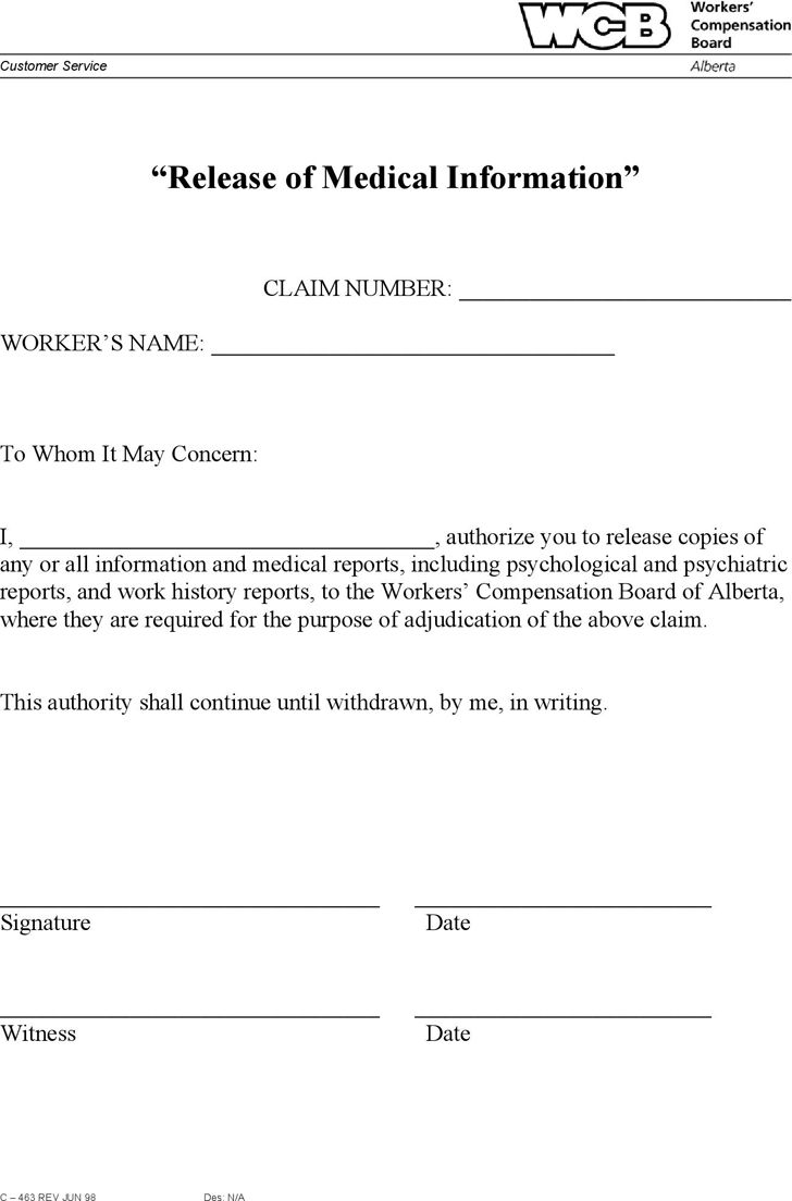 Alberta Release Of Medical Information Form Download The Free Printable Basic Blank Medical Release Form Template Or Wai Medical Information Medical Templates Simple medical release form template