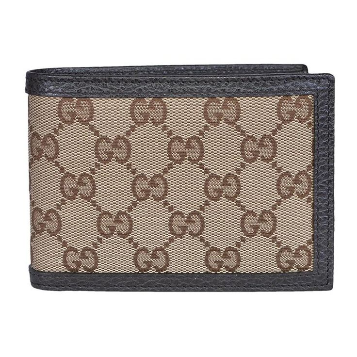 Gucci Original GG Canvas Leather Men's Bifold Wallet 260987 9903 Brown/Beige
