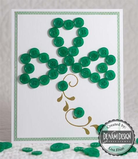 DeNami Shamrock Button card by Lisa
