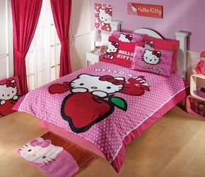 This adorable duvet, comforter and bedskirt will add warmth and character to your bedroom. The central design of this bedding set features Hello Kitty with a yummy red apple. Flip over the duvet and you get a Hello Kitty wallpaper design - double the fun!