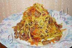 салат из редьки с овощной зажаркой и сухариками