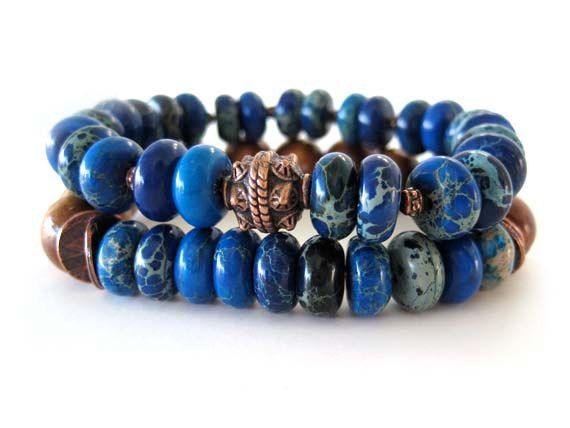 Blue Bohemian beaded stretch bracelets by Rock & Hardware Jewelry