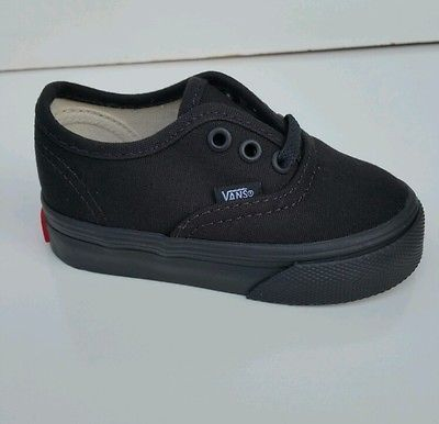 e5343581bb Vans Authentic Black Black Canvas Infant Toddler Baby Boy Girl Shoes Size  4-10