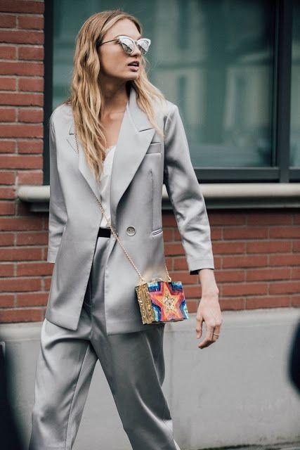 Grey suit.