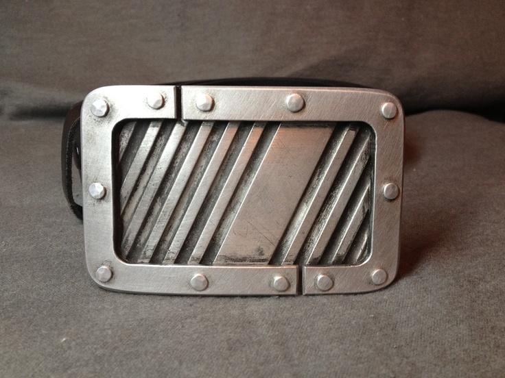 Micah Hallock: Aluminum Threshold Laminated Belt Buckle.