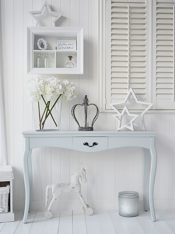 Grey and white hall furniture from The White Lighthouse. A pebble grey console table. Hall furniture for homes in coastal, Scandi, New England and French styles. Create a beautiful entrance way to your home. Range of lamp and console tables for your hall.