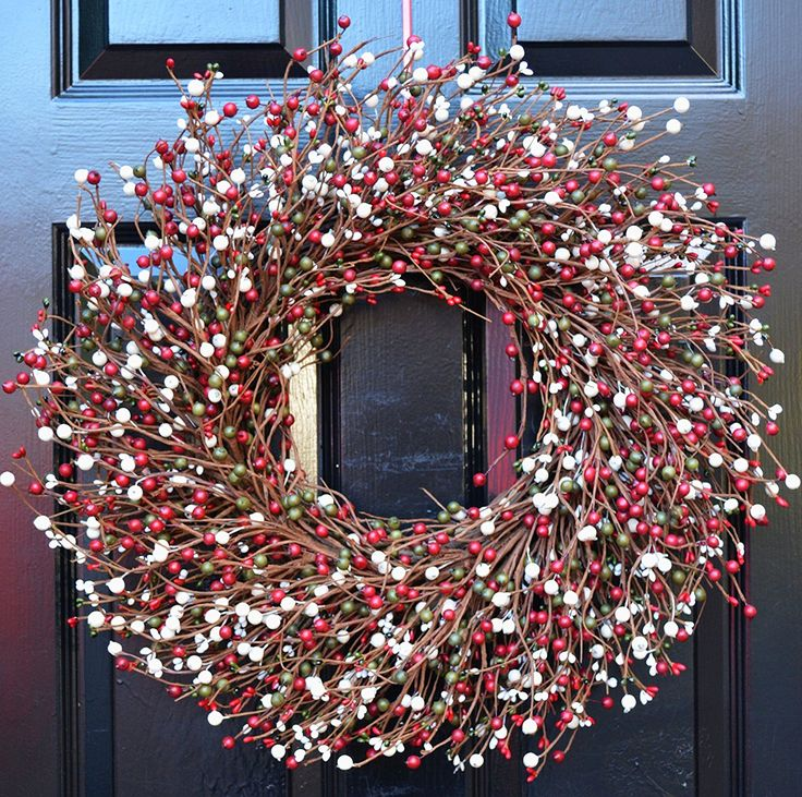 Amazon.com: Elegant Holidays Handmade Red, Green & Cream Berry Wreath, Decorative Front Door to Welcome Guests-for Outdoor or Indoor Home Wall Accent Décor- Great for Christmas, Winter Holidays- 16-24 inches: Handmade