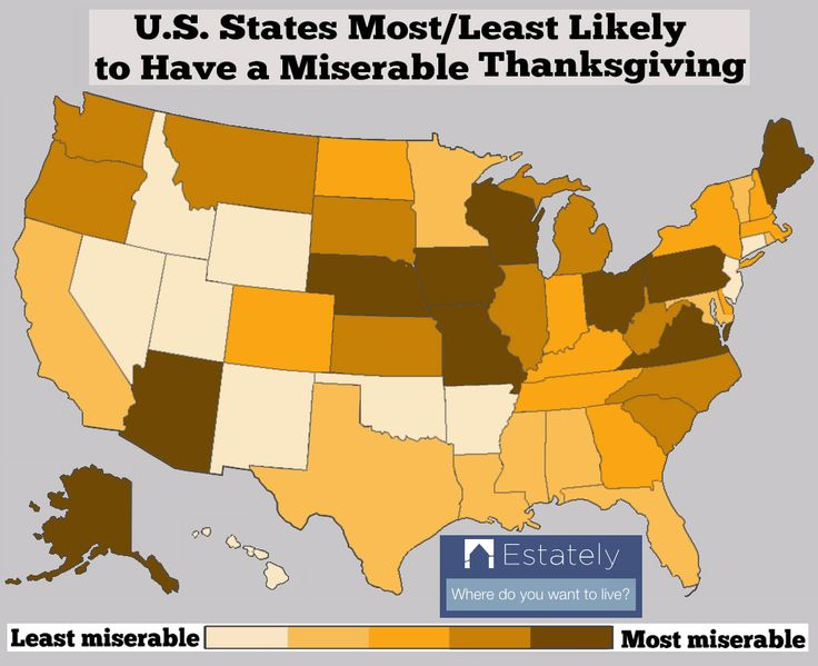 Are you having Thanksgiving in the happiest U.S. state for Turkey Day?