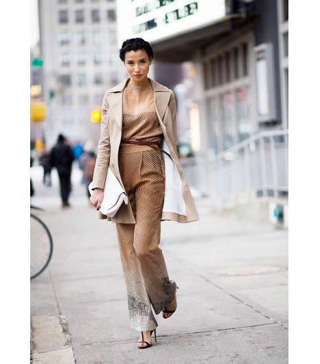 @Who What Wear - Neutral Jumpsuit + Crisp Jacket                 Here's how to pull off a jumpsuit at the office.  Get the look: Vince Short Sleeve Jumpsuit ($395) in Hunter Green; Oasis Neutral Biker Coat ($185) in Neutral  Image via Gastro Chic