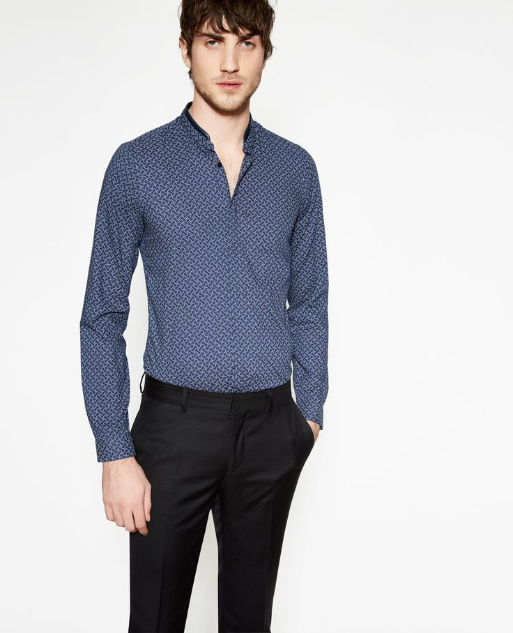 Navy blue cotton shirt with cross micro-pattern - Shirts - The Kooples