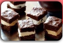 "BROWNIE SANDWICH DESSERT BARS  1 box Truffle Fudge Brownie Mix  2 eggs  ½ cup butter  2 litres vanilla ice cream or ice cream   of your choice in a rectangular box  Prepare Truffle Fudge Brownie Mix as   per package directions.  Lightly oil an   11"" x 17"" baking pan, then line with   parchment paper.  Click for more instructions..."