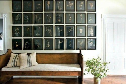 LOVE this wall: Interior, Idea, Bench, Art, Botanical, Church Pew, Gallery Wall, Design