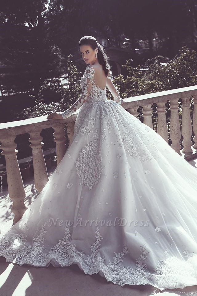 ccc00a3d5bf Gorgeous Long Sleeve Detachable Train White Lace Wedding Dress in ...