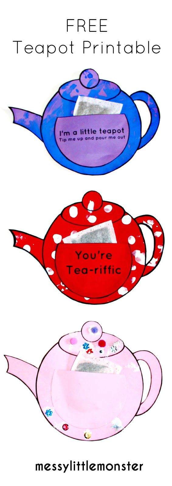 Teapot craft for kids with free printable.  A simple activity for mothers day, fathers day or teachers.  A  thank you card that babies, toddlers, preschoolers, eyfs can create.  Perfect activity for the nursery rhyme 'i'm a little teapot'.