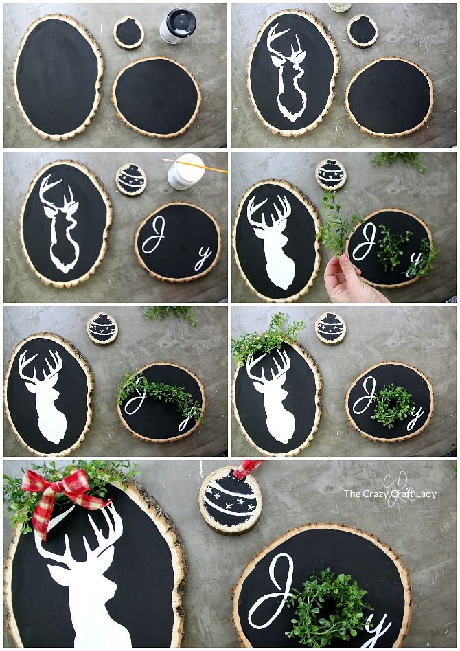 Two Seasonal Wood Round Crafts Reversible Holiday Decor The