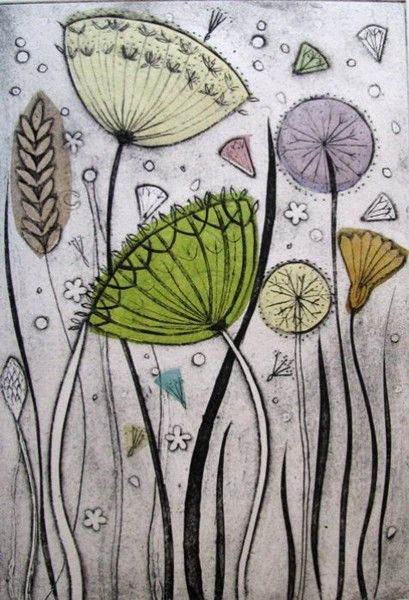 Diana Croft often uses chine colle techniques (applying layers of handmade tissue to the print) to add an extra dimesion of colour and texture. Because of this technique the prints vary one from another and each one is a unique piece. Recent work has been using three plate collagraphs to produce semi-abstract prints inspired by plants and seedheads.