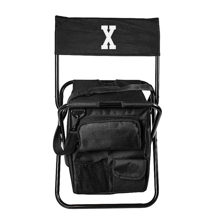 Cathy's Concepts Monogram All-in-One Tailgate Cooler Chair, Black