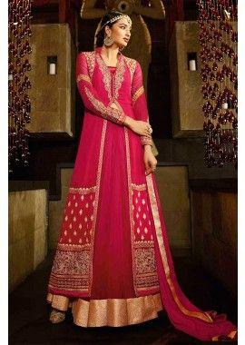 georgette rouge costume Anarkali, - 184,00 €, #Robepakistanaisepascher #Robemariage #Robepakistanaise #Shopkund