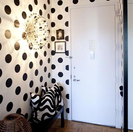 black and white polka dot walls. Done right and it looks chic instead of nursery.