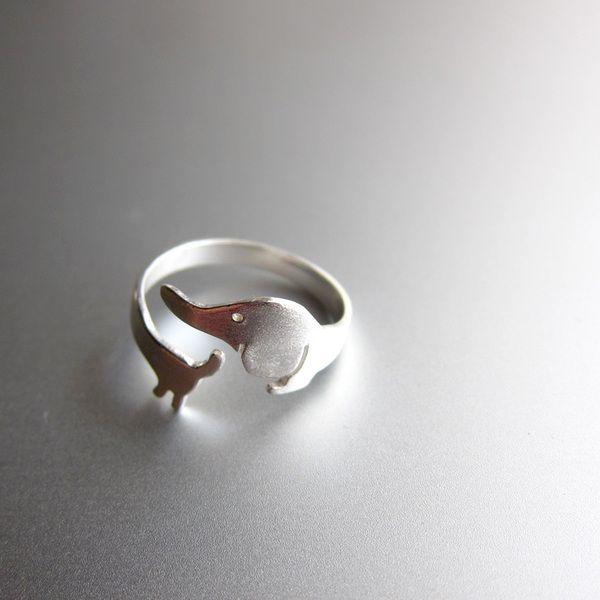 mi perrito - Anillo de plata de ley hecho a mano de Sonriendo anillo de plata platero y joyería por DaWanda.com