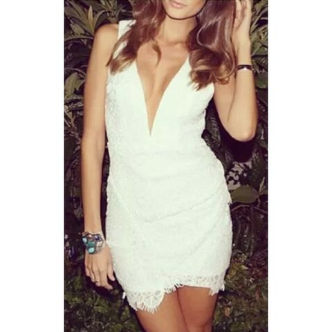 New Deep-V White Lace Dress now available at Ruby Liu! ♥ http://rubyliuboutique.com/collections/lace