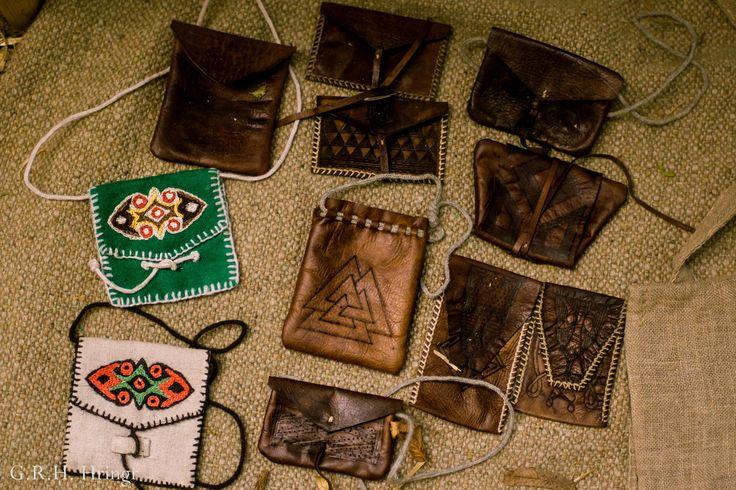 Historical leather wallets. Handmade by Paweł Wodziński. Linen and woolen ones made by A. Wodzińska