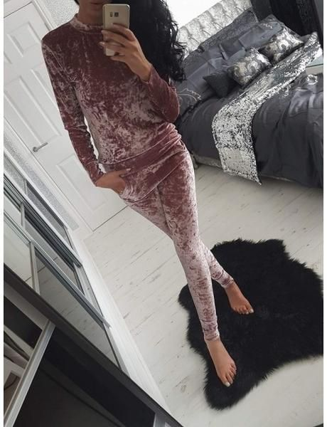 DUSKY PINK ALL OVER VELVET TOP AND JOGGER BOTTOM LOUNGE TWO PIECE SET