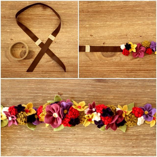 Como hacer una corona de flores de fieltro