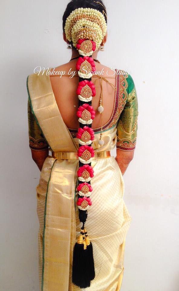 Traditional Southern Indian bride's bridal braid hair. Hairstyle by Swank Studio. Silk Saree. Sari Blouse Design. Hair Accessories. Temple jewelry. Jhumkis. Silk Kanjeevaram sari. Braid with fresh flowers. Tamil bride. Telugu bride. Kannada bride. Hindu bride. Malayalee bride. Find us at https://www.facebook.com/SwankStudioBangalore