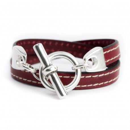 Bracelet cuir couturé double tour bordeaux fermoir T