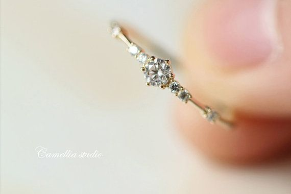 14k gold contracted fine delicate zircon gemstone by TInyCamellia