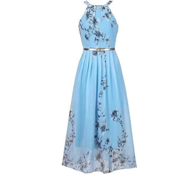 Women's Sleeveless Halter Neck Vintage Floral Print Maxi Dress ($8.99) ❤ liked on Polyvore featuring dresses, floral dresses, halter neck maxi dress, vintage dresses, vintage maxi dresses and blue maxi dress