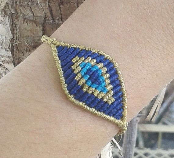 Macrame eye bracelet big size/ evil eye bracelet/ by lulupica