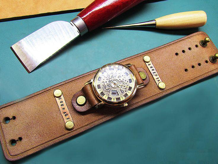 Handmade Brown Watch cuff strap, Mens Watch Leather strap, 16mm, 18mm, 20mm, 22mm , 24mm, leather Watch band ,048 by LeatherArtStore on Etsy