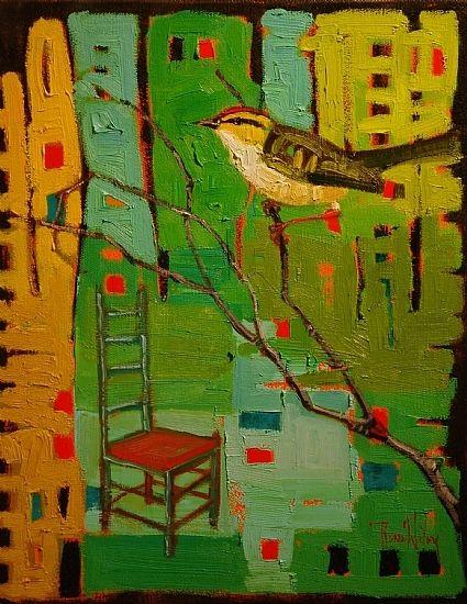 """""""Bird in Green"""" by Rene' Wiley Gallery Oil ~ 14 x 11"""