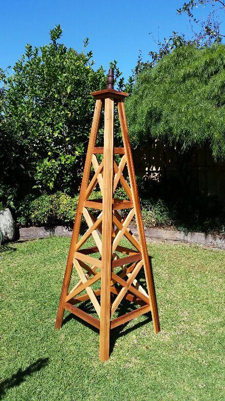 Garden Obelisk Pyramid Trellis Oiled 349 White 459