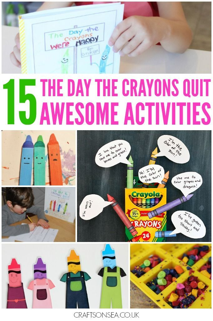 The Day the Crayons Quit activities for kids, free printables, crafts, DIY dressing up outfit tutorial, literacy practice and colouring sheets.