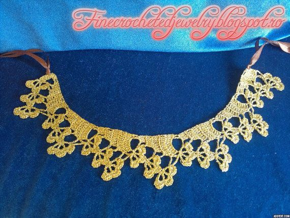 Crochet Flower Necklace by FineCrochetedJewelry on Etsy, $25.00