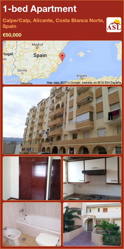 1-bed Apartment in Calpe/Calp, Alicante, Costa Blanca Norte, Spain ►€50,000 #PropertyForSaleInSpain