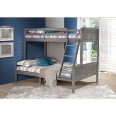 donco kids antique grey louver twin over full bunk bed - Einfache Hausgemachte Etagenbetten