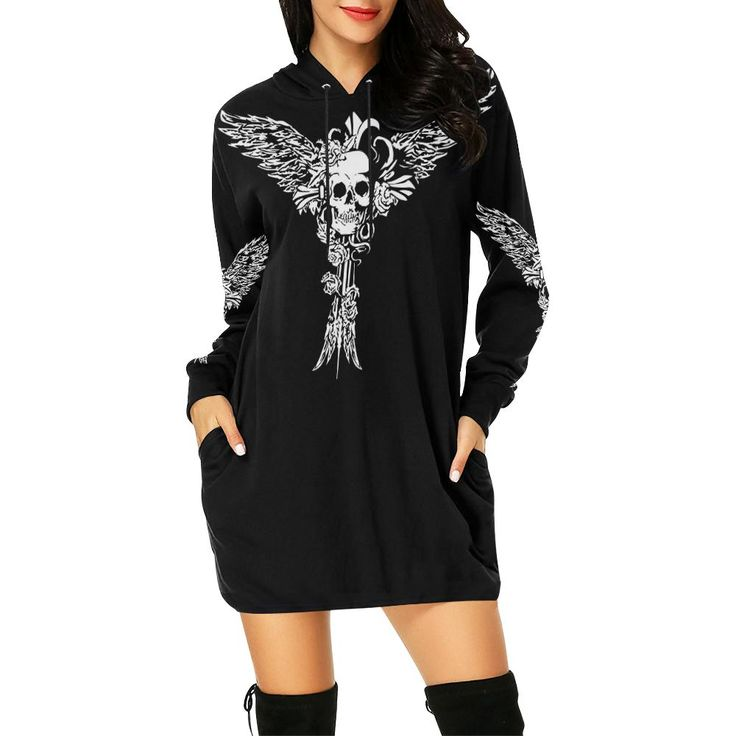 Cross Winged Skull Printed Women's Hoodie Mini Dress