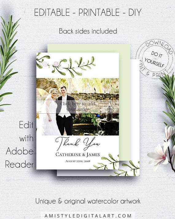 Wedding Thank You Photo Cards - with modern and elegant watercolor botanical design in rustic and minimalist style.This adorable thank you photo card is an instant download EDITABLE PDF so you can download it right away, DIY edit and print it at home or at your local copy shop by Amistyle Digital Art on Etsy