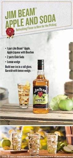 Cool and crisp for every occasion. Mix 1 part Jim Beam®️️ Apple with 2 parts club soda and garnish with a lemon wedge for an always in season taste. Jim Beam®️️ Apple, Apple Liqueur infused with Kentucky Straight Bourbon Whiskey, 35% Alc./Vol. ©️️2017 James B. Beam Distilling Co., Clermont, KY